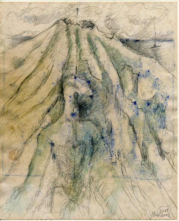 Mensch+Berg - 24,5 x 20 cm, 2018 / Graphitstift, Aquarellfarbe auf präpariertem Papier