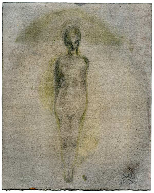 Vogelfrau - 25 x 19,8 cm, 2019 / Graphitstift, Aquarellstift auf präpariertem Papier
