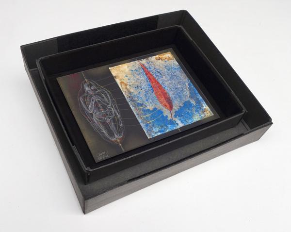 Wirbelsaeule Blatt - 20,5 x 27 cm, 2020 / Aquarellstift, Blatt auf präpariertem Papier, handgefertigte Rahmen aus Kofferpappe und Filz 33,5 x 37,5 cm