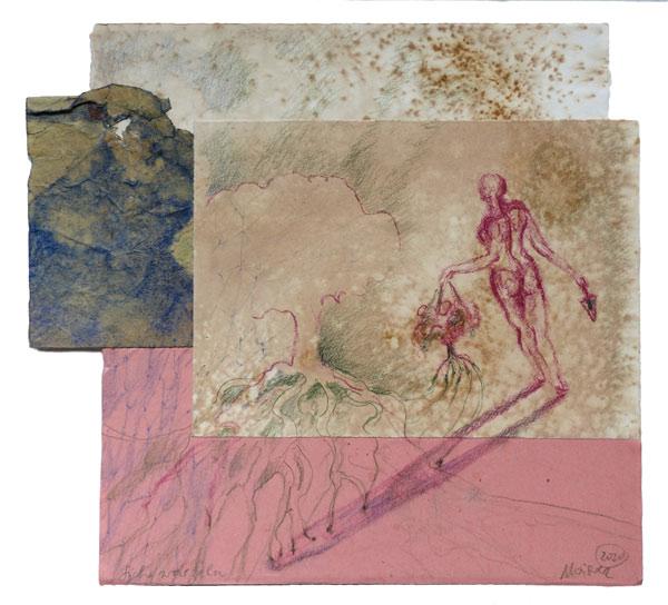 sich-wurzeln - 30,5 x 33,5 cm, 2020 / Graphitstift, Rötel, Farbstift auf präparierten Papieren