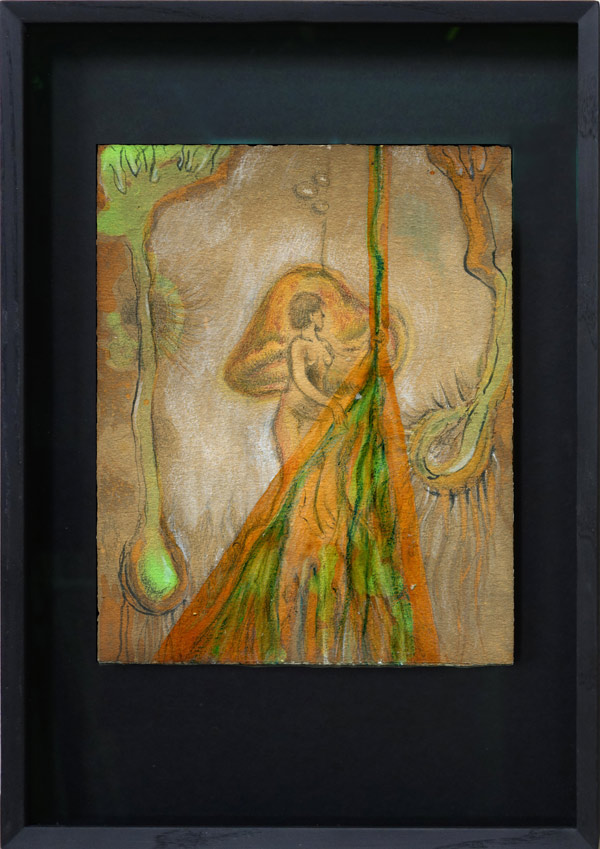 Ascomycotapflege - 24,8 x 19,8 cm, 2017 / Graphitstift, Aquarellstift, Schellack auf präpariertem Papier, Modellrahmen aus Holz mit Museumsglas, 41 x 28 cm, 2020