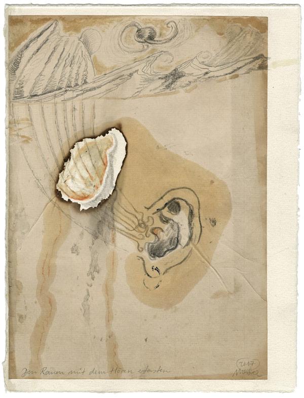 Raum tasten - 31,5 x 23,7 cm, 2017 / Graphitstift, Rötel, Leinöl, Brandspuren auf präpariertem Papier, Modellrahmen aus Holz, weiß geschlemmt 38,5 x 32 cm
