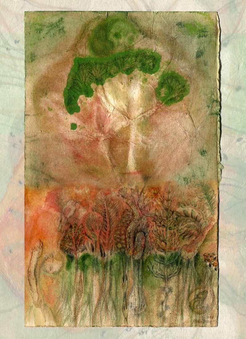 Baumgeist - 110 x 80 cm, 2019 / Collage (digital), Piezo-Pigmentprint mit Epson Ultrachrome Tinten auf beschichtetem Hahnemühle Inkjet Kupferdruck-Bütten - Auflage 6 / davon 3 individuell übermalt (Produktion artificial image, Berlin)