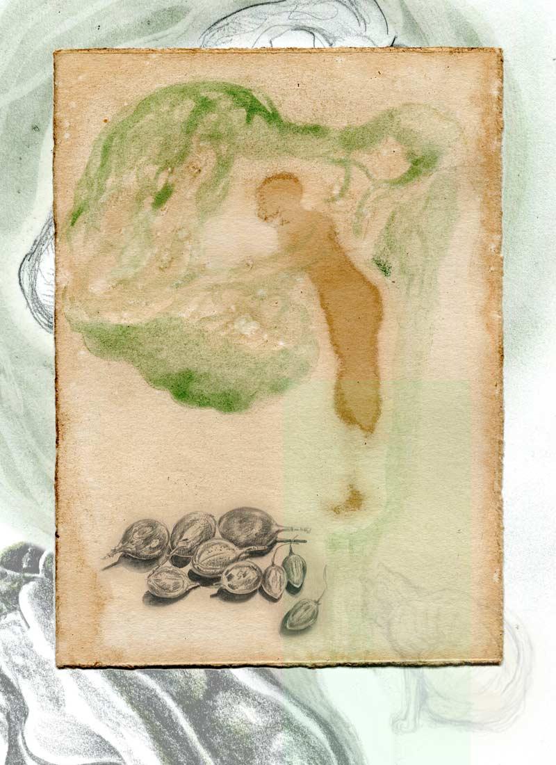 Baumhaus - 110 x 80 cm, 2019 / Collage (digital), Piezo-Pigmentprint mit Epson Ultrachrome Tinten auf beschichtetem Hahnemühle Inkjet Kupferdruck-Bütten - Auflage 6 / davon 3 individuell übermalt (Produktion artificial image, Berlin)